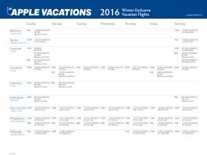 East Coast Departures (Baltimore, Boston, Cincinnati, Cleveland, Columbus, Indianapolis, New York City - JFK, Philadelphia, and Pittsburgh)