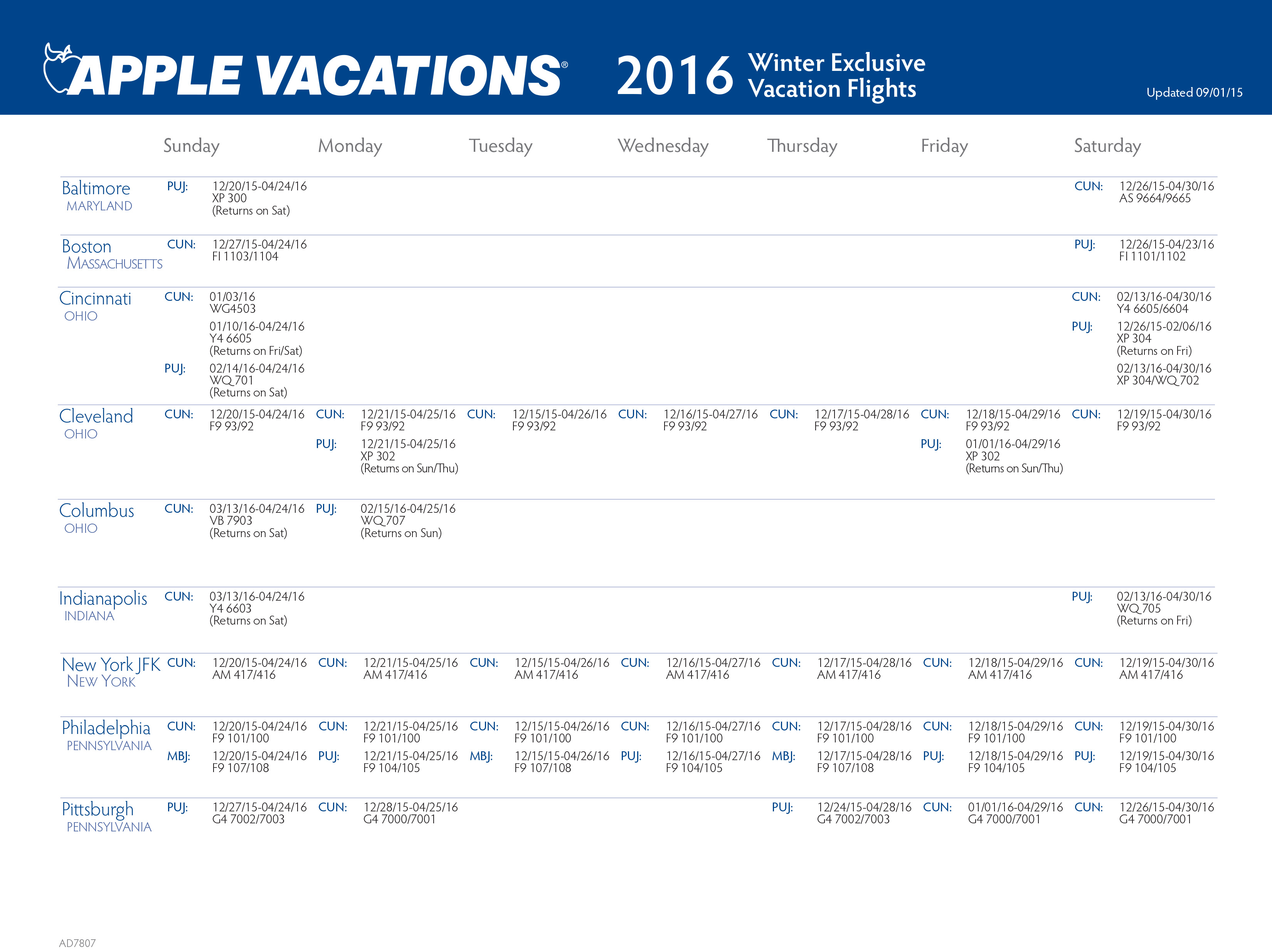 Apple Vacations 2016 Non Stop Charter Schedule Travel By Bob