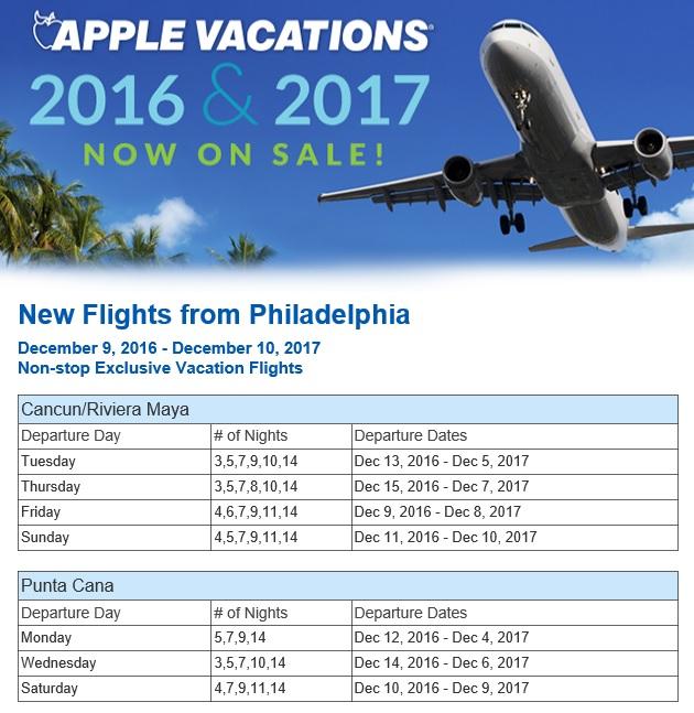 Philadelphia-Non-Stop-Charter-Schedule