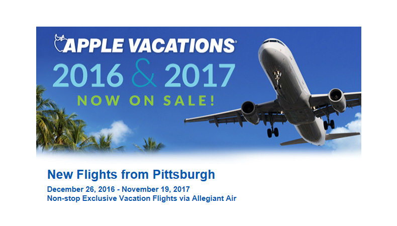 Pittsburgh Non-Stop Charter Schedule | Holiday 2016 & Winter 2017