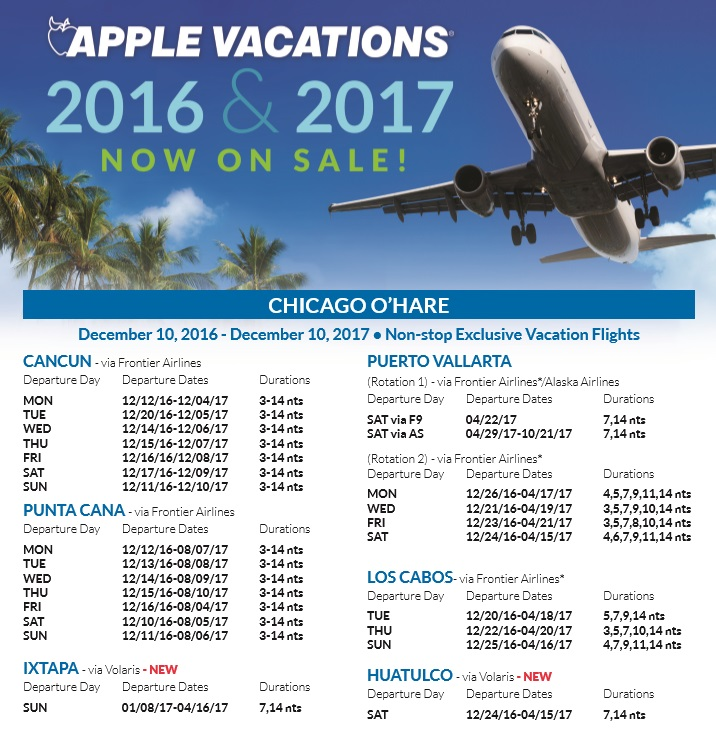 Apple Vacations Holiday 2016 Amp 2017 Non Stop Charter