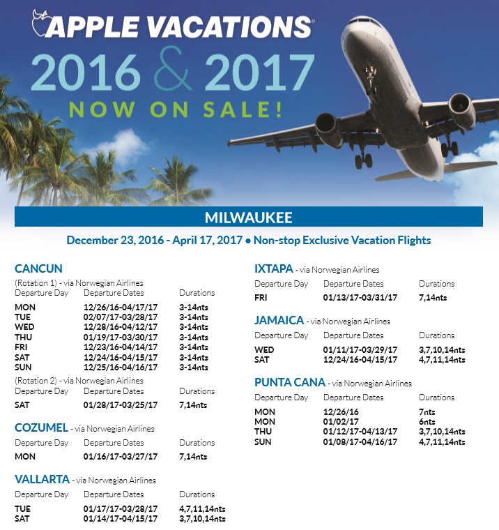Holiday 2016 & 2017 Non-Stop Charter