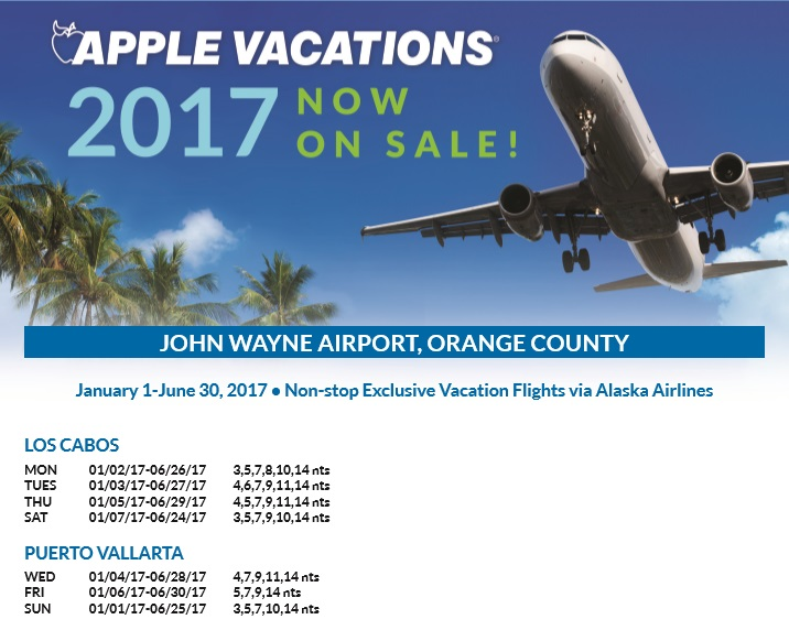 Apple vacations holiday 2016 2017 non stop charter schedule orange county john wayne sna sciox Images