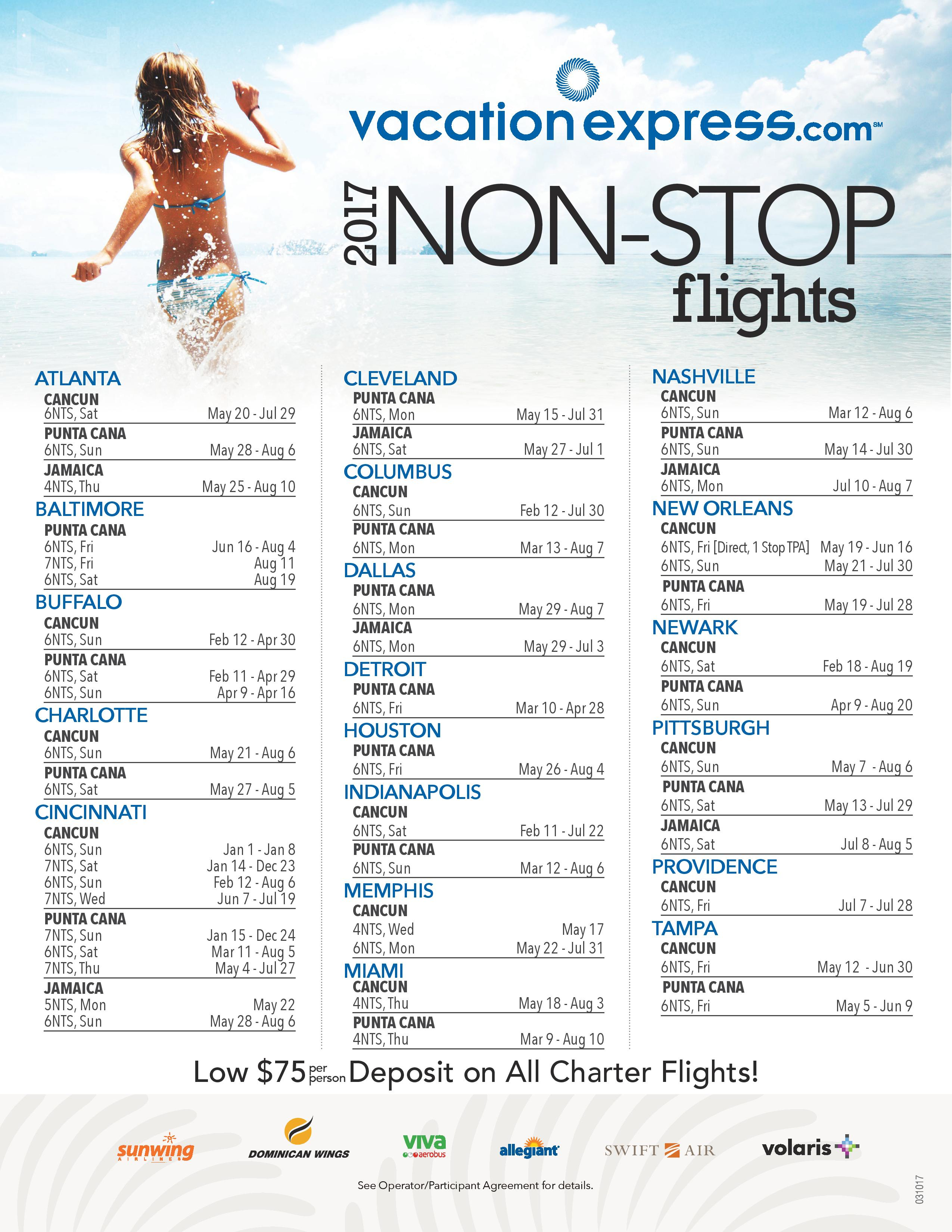 Vacation Express | 2017 Non-Stop Charter Schedule (Updated ...