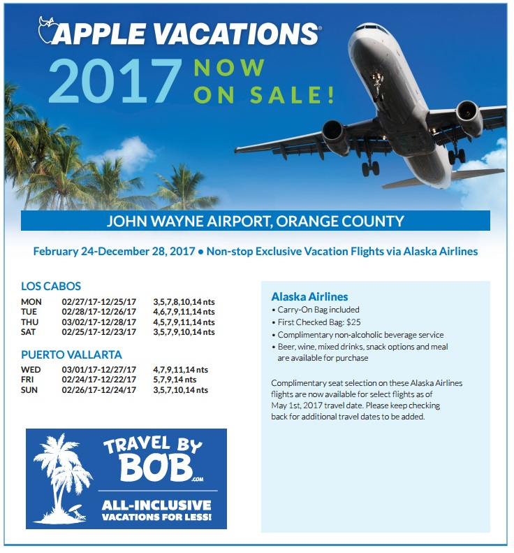 Apple vacations 2017 non stop charter schedule travel by bob orange county john wayne sna sciox Images