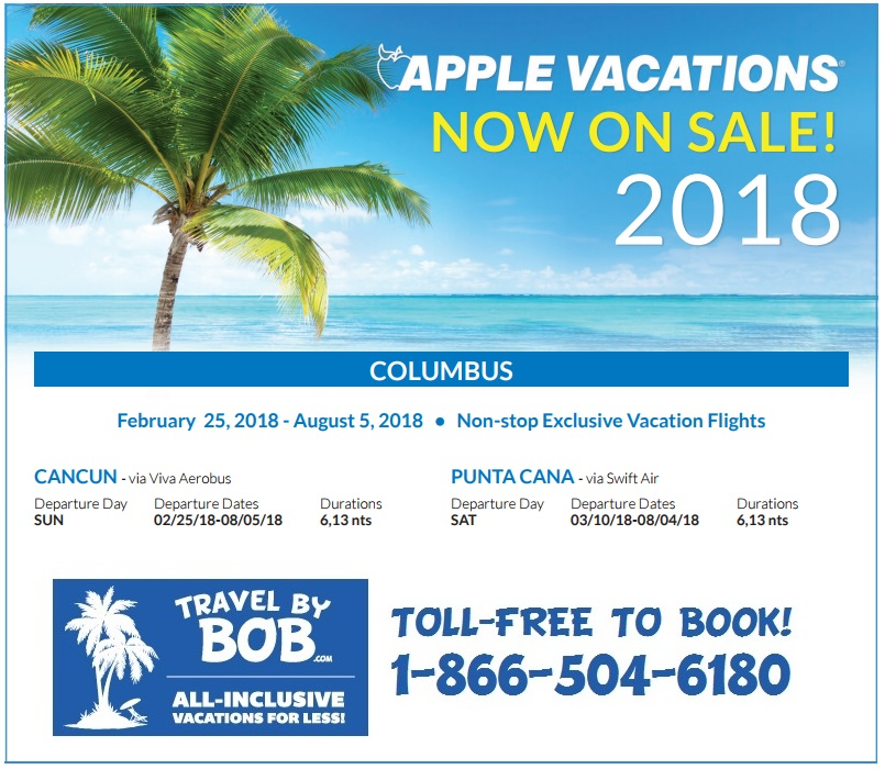 Apple Vacations 2018 Non Stop Charter Schedule Travel By Bob