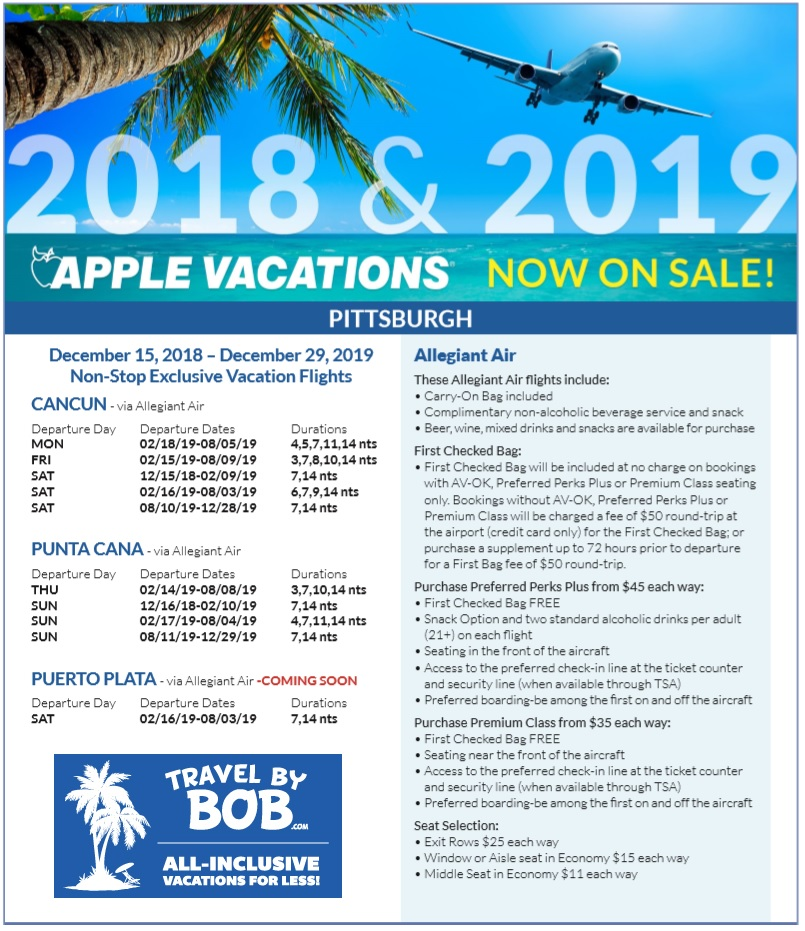2019 Travel Trailers: Apple Vacations Releases 2018-2019 Non-Stop Charter
