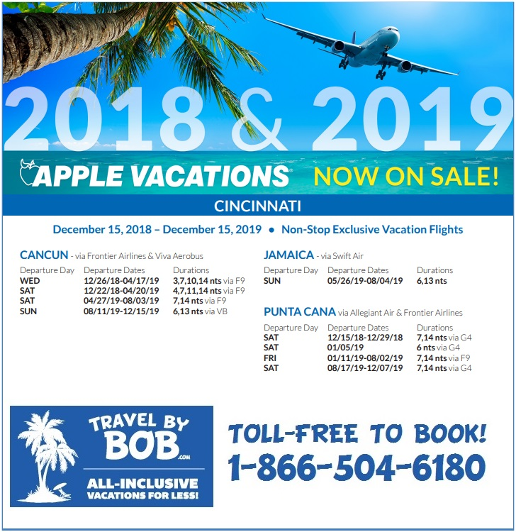 Apple Vacations 2018-2019 Non-Stop Charter Schedules - Travel By Bob