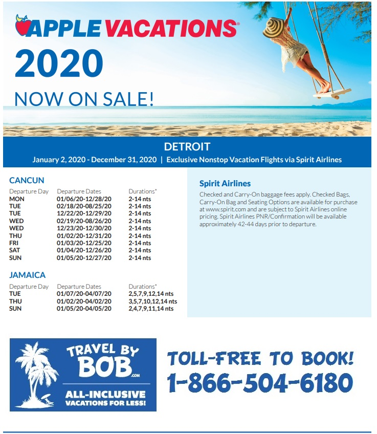 Apple Vacations Holiday 2019 2020 Non Stop Charter Schedules Travel By Bob
