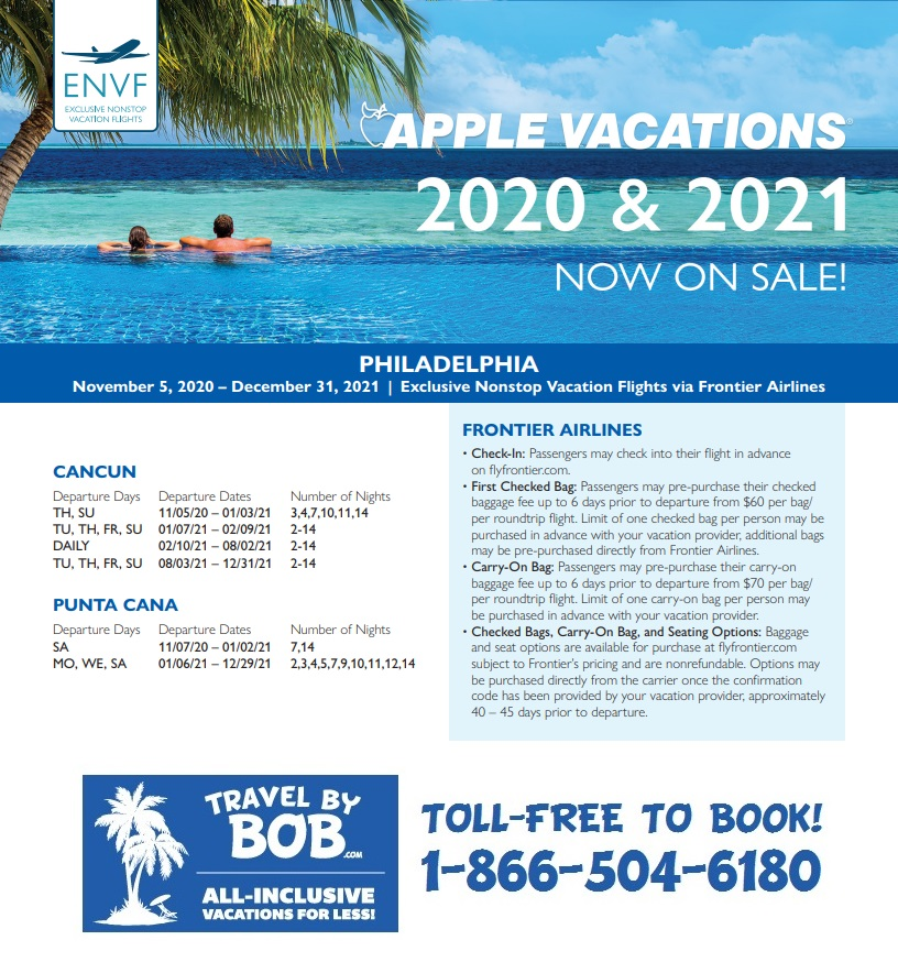 Apple Vacations' Holiday 2020 & 2021 Non-Stop Charter